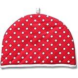 Homescapes Double Design Tea Cosy Polka Dots Red Muff Teapot Warmer 100% Cotton