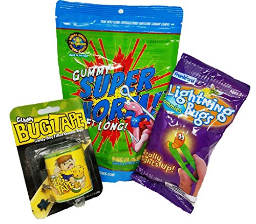 Bug Candy Kit With Giant Gummy Super Worms (Over 2 Ft Long), Gummy Lightning Bugs That Actually Light Up, and Bug Tape Gummy Candy