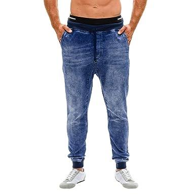 Pantalón Vaquero Elástico para Hombre Pantalones Vaqueros Slim Fit con Bolsillo Ajustado De Freyed Ajustados Bebe Ni Hombres Casuales Punto Running ...