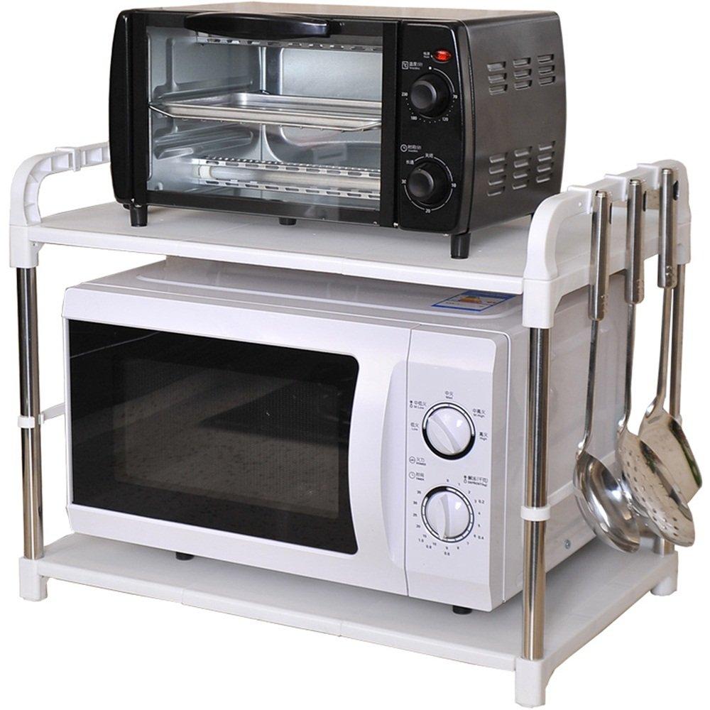 Scaffale a 2 strati per forno a microonde ripiano per mensole da cucina (dimensioni : 35 * 58 * 45cm, stile : Veneer) GraspFate