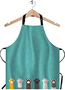 Wondertify Cat Paws Apron,The Claws Of Cats Of Different Breeds On The Blue Background Bib Apron with Adjustable Neck for Men Women,Suitable for Kitchen Cooking Waitress Chef Grill Bistro Baking Apron