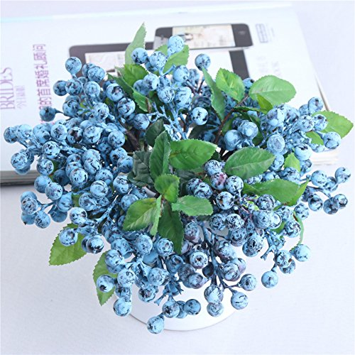 Crt Gucy 6 Pcs Plastic Artificial Blueberry Fruit Artificial Flowers California Berries For Home Decoration, Blue by Crt Gucy