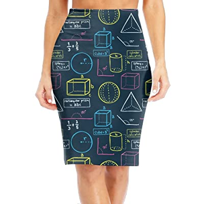 ADuren4 Math Equation School Class Girl High Waist Band Bodycon Career Office Midi Pencil Skirt