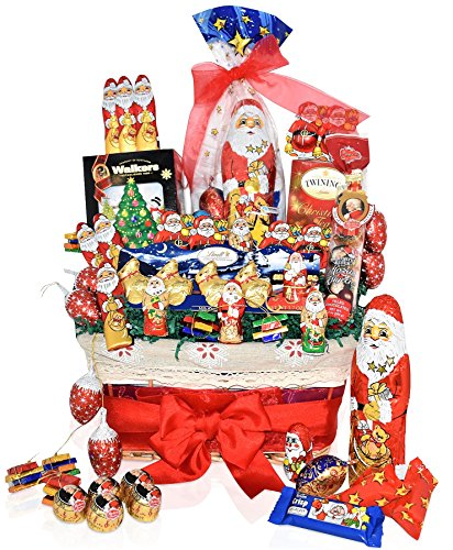 Christmas Chocolate Variety Gift Basket - Lindt, Santa Varieties & Reindeer, Christmas Specials, Mozart, Twinings, Shortbread Christmas Gift Pack for Family, Friends, Men, Women and more