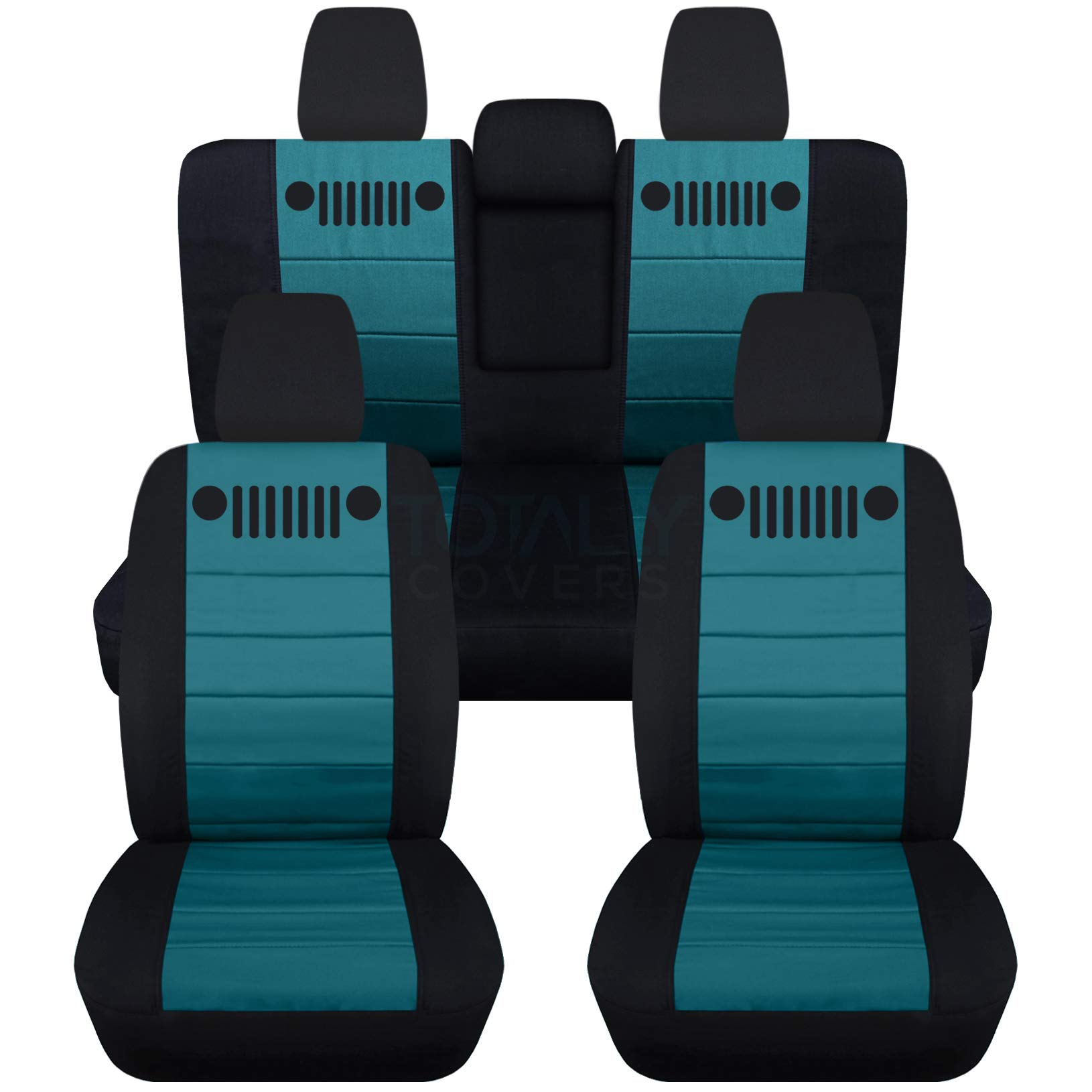 Totally Covers Fits 2018-2019 Jeep Wrangler JL Seat Covers: Black & Teal - Full Set: Front & Rear (23 Colors) 2-Door/4-Door Solid/Split Bench Back w/wo Armrest/Headrest