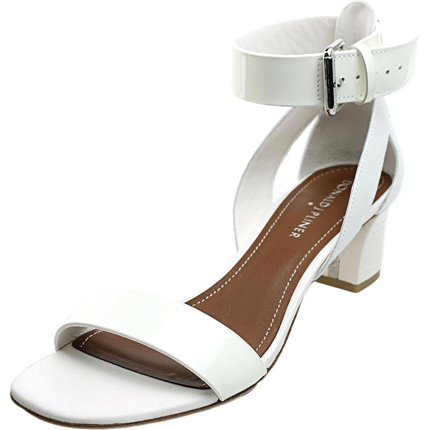 Donald J Pliner Womens Farah Leather Open Toe, White/White Patent/Calf, Size 8.5