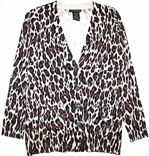 Leopard Print Ribbed Cardigan - Grace Elements Women's Rayon Blend Leopard Print Boyfriend Cardigan Sweater w/ Pockets (XXL, Leopard Print)