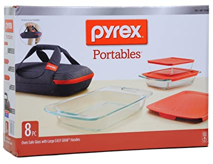 Amazon.com: Pyrex Portables 8-Piece Set (3 Baking Dishes, 3 Lids, 1 ...