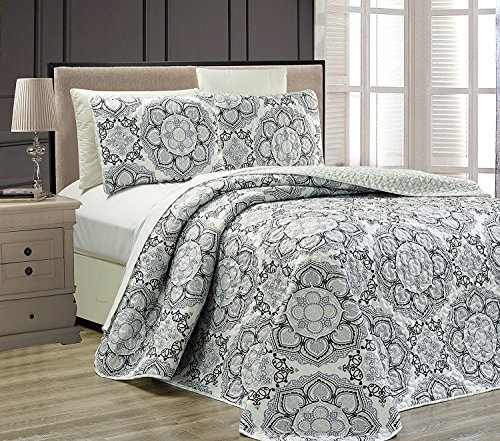 Mk Collection 3pc King Oversize Reversible Quilted Bedspread Set Floral Gray White Black New (Bedspread Quilted And White Black)