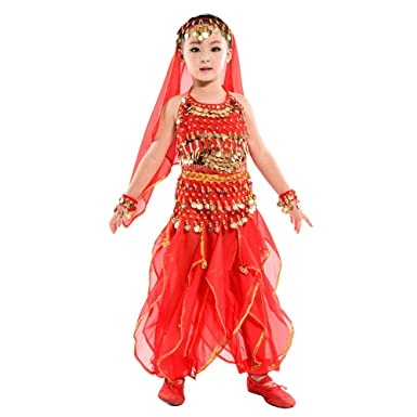 19bbe04b07f5 KINDOYO 5 Pcs Children Girls Indian Belly Dance Sequins Costumes, Egypt  Dance Cosplay Clothes: Amazon.co.uk: Clothing