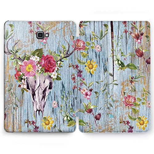 Wonder Wild Wooden Skull Samsung Galaxy Tab S4 S2 S3 A E Smart Stand Case 2015 2016 2017 2018 Tablet Cover 8 9.6 9.7 10 10.1 10.5 Inch Clear Design Vintage Blue Wood Look Skull Wildflower Floral -