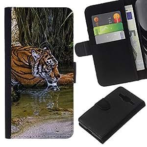 All Phone Most Case / Oferta Especial Cáscara Funda de cuero Monedero Cubierta de proteccion Caso / Wallet Case for Samsung Galaxy Core Prime // Tiger River Cute Fur Africa Nature Green