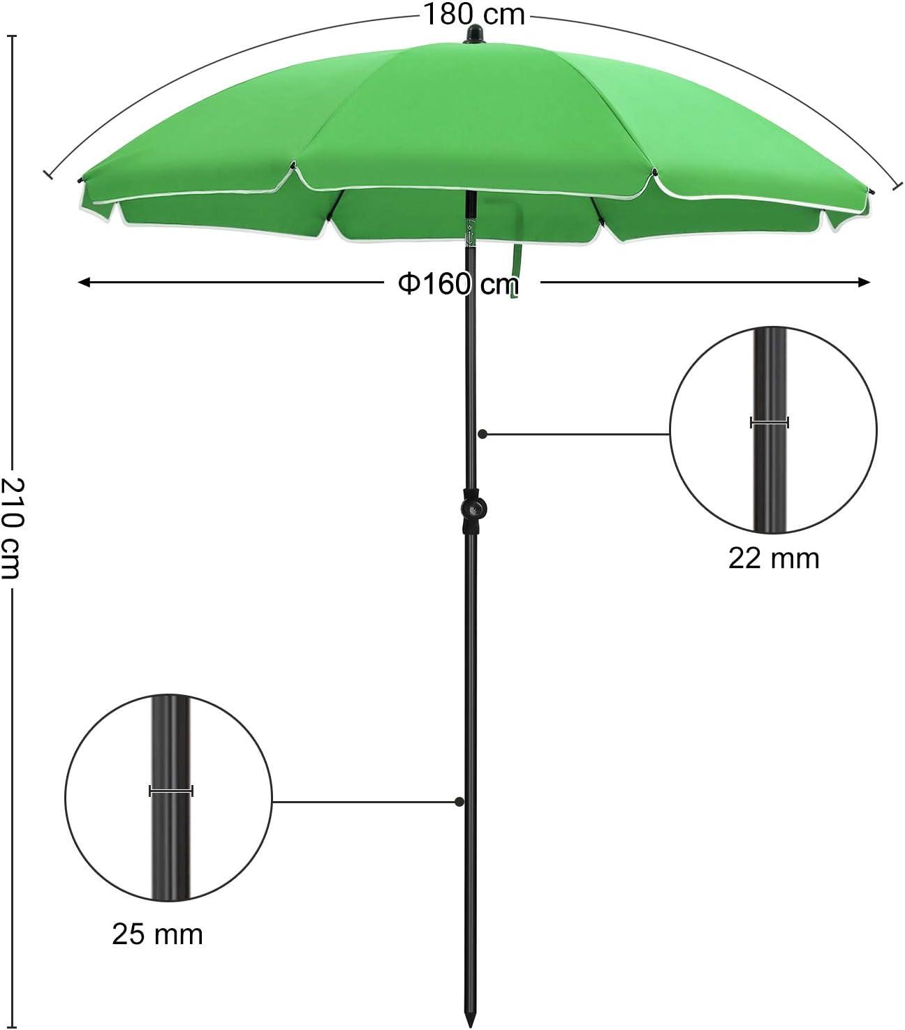 avec manivelle Protection salaire UPF50+ Ombrelle de terrasse diam/ètre 3 m Taupe GPU33BR Inclinaison r/églable sans Socle SONGMICS Parasol de Jardin avec Ampoules LED /à /énergie Solaire