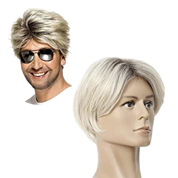 Men S Short Ombre Blonde Wig Natural Straight Dark Roots Synthetic