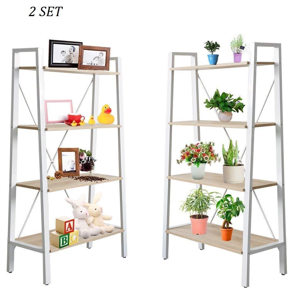 Dporticus 2 Set 4 Tier Modern Ladder Bookshelf Free Standing Open Bookcase Storage Shelf Units Display Stand, Oak White, 31.4 L x13 W x52.5 H