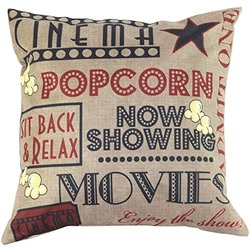 XUANOU Vintage Cotton Linen Blended Cushion Cover Letter Pattern Throw Pillow Case