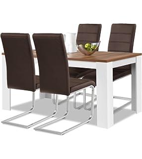 Agionda® Esstisch + Stuhlset : 1 X Esstisch Toledo 140 X 90 Nussbaum / Weiss