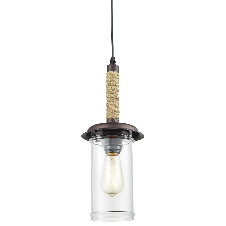 YOBO Lighting Vintage Glass Pendant Light with Hemp Rope
