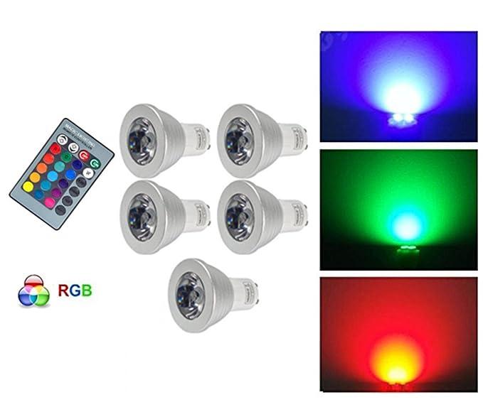 G de Anica 5 x GU10 RGB LED Bombilla Foco Multicolor Bombilla con mando a distancia
