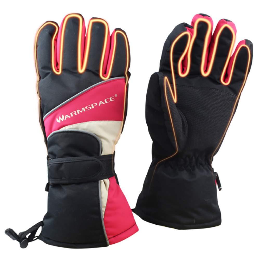 LBAFS Elektrische Beheizte Handschuhe, Winter Im Freien Warme Ski USB-Heizung Wiederaufladbar Mit Akku-Thermo-Handschuhen,ROT-M
