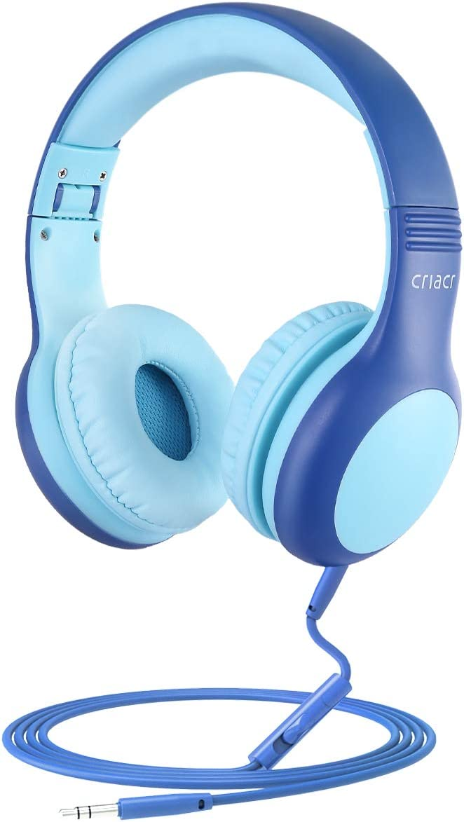 Kids Headphones, Volume Limited Hearing Protection Wired Headphone, Audio Sharing Function, Kids Friendly, Tangle-Free Cord, School On-Ear Headphones for Children, Girl, Boy (Blue)