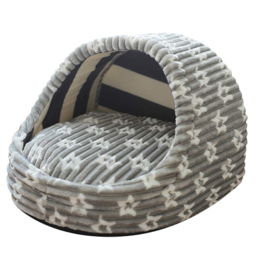 Medium DNSJB Cat Litter Yurt Winter Warm Kennel, Small Kennel Semi-enclosed Cat Litter, Four Seasons Universal Cat Dog Bed S M L (Size   M)
