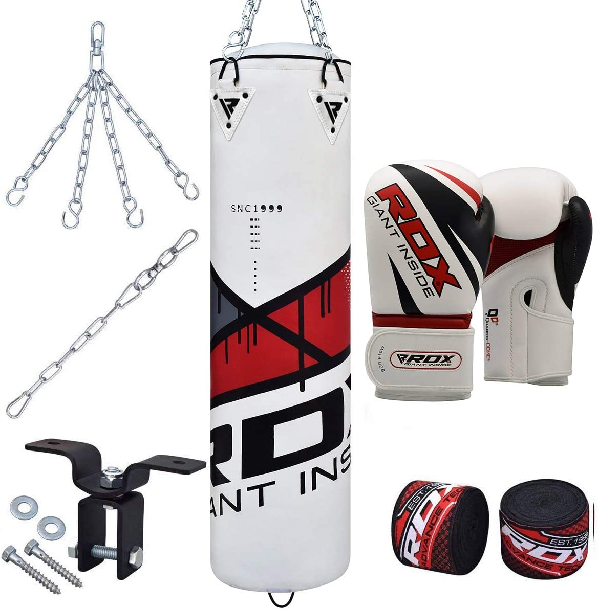 RDX 8PC Sacos De Boxeo MMA 4FT 5FT Relleno Saco Pesado Pared Kick Boxing Guantes Muay Thai Gancho del Techo