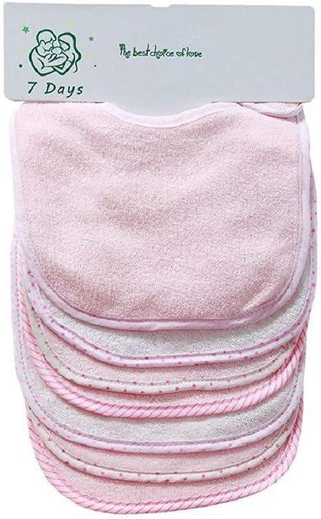 Juego de 7 baberos para bebé de doble capa, 100% algodón absorbente blanco blanco (pink): Amazon.es: Bebé