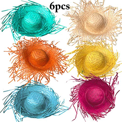 B bangcool 6PCS Beachcomber Hat Assorted Colors Straw Hat for Easter Party -