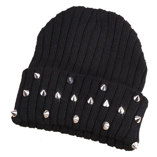 4dc12818375 W Hstore Mens Womens Punk Rock Hip-hop Hat Spike Rivet Stud Knit Cap (Black