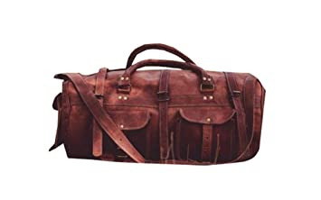 Suraj Handicrafts and Leather Bags Leather 12X30 Inch 12X30 Inch Brown Duffel Bag Travel Duffles