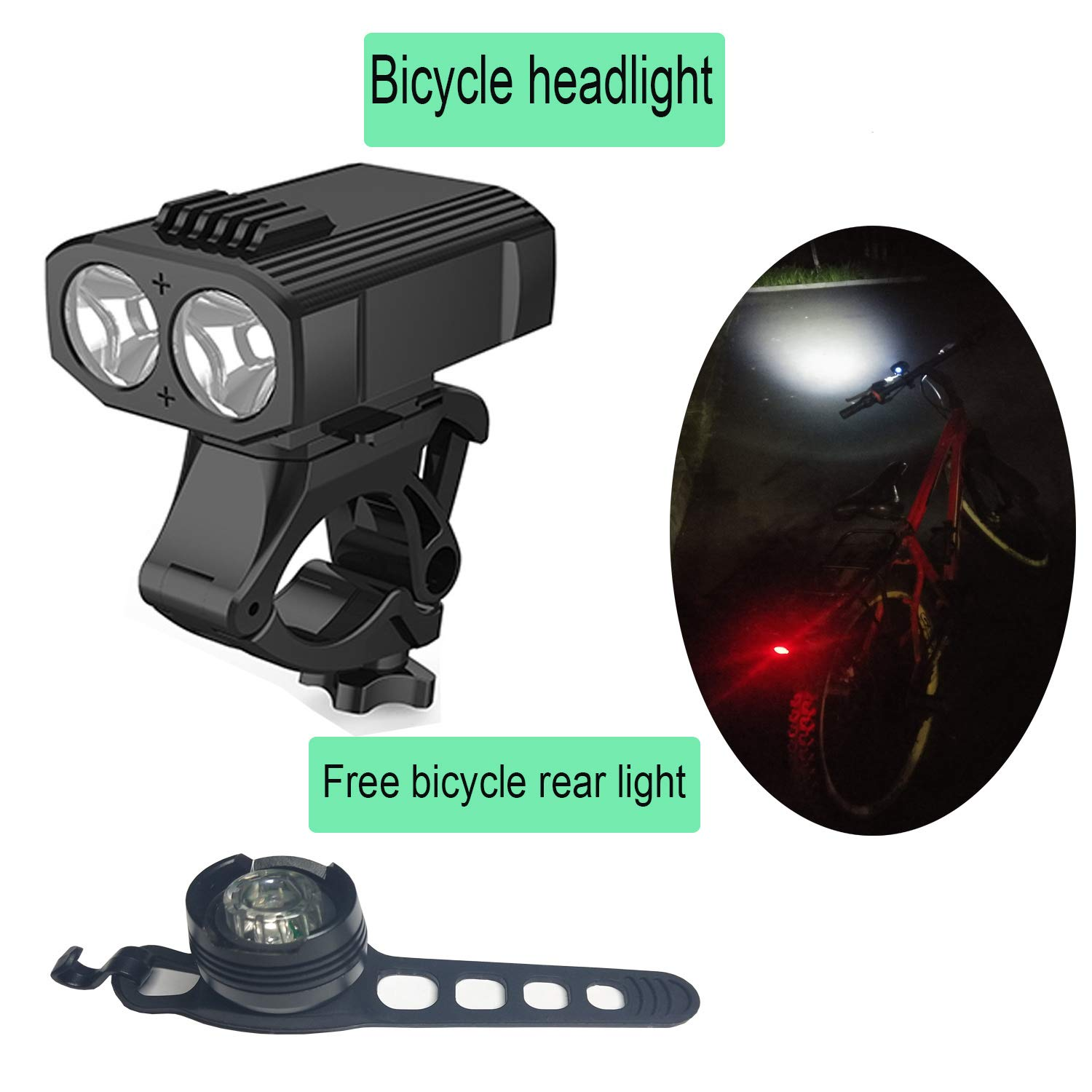 Super bright 800 lumens bicycle light rechargeable bicycle light set IP65 waterproof quick release headlights and taillights bicycle flashlight eas USB rechargeable waterproof bicycle LED headlights