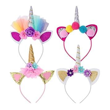 1//4PCS Magical Unicorn Horn Head Party Kids Hair Headband Dress Cosplay Decor US