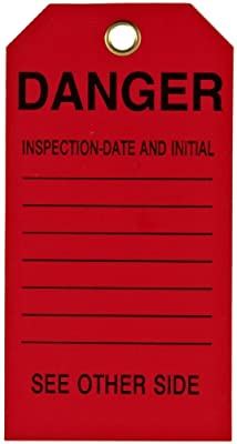 """Brady 86573 5-3/4"""" Height, 3"""" Width, B-851 Economy Polyester, Black On Red Color Scaffolding Tag (Pack Of 10)"""