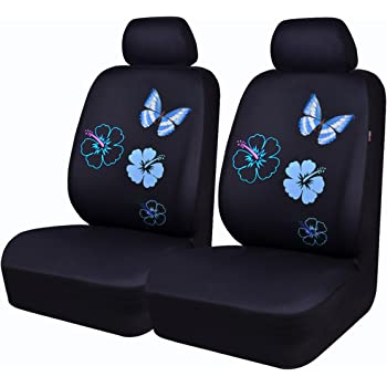 CAR PASS NEW ARRIVAL Flower And Butterfly Universal Car Seat CoversPerfect Fit SuvssedansVehiclesAirbag Compatible 6PCS Black Mint Blue