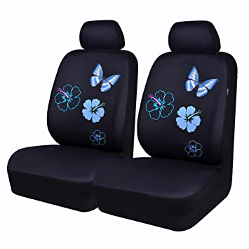 CAR PASS Flower and Butterfly Universal Car Seat Covers, Suvs,sedans,Vehicles,Airbag Compatible (6PCS, Black and Mint Blue)