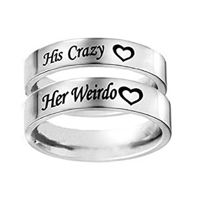 Her Weirdo Heart Engraved Ring Stainless Steel Engagement Wedding Band For Men Anniversary Gift His