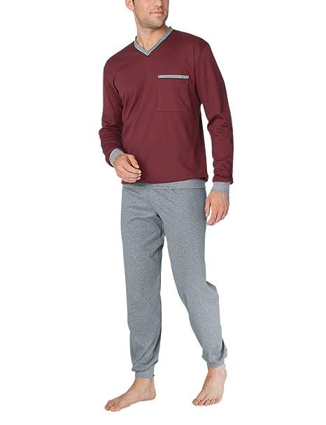Calida Louis Pyjama mit Bündchen, Conjuntos de Pijama para Hombre, Rojo (English Red