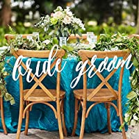 Wedding Bride and Groom Chair Signs, Hanging Chair Sign Wooden Wedding Signs Bride & Groom Large Calligraphy Signs, Custom Colors or White