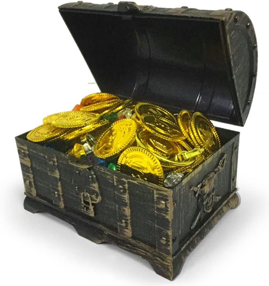 TOYMYTOY Mini Pirate Treasure Chest Box with 100 Gold Coins