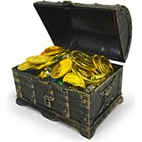 TOYMYTOY Mini Pirate Treasure Chest Box with 100 Gold Coins, 100 Gems Diamonds, 2 Earring, 2 Rings