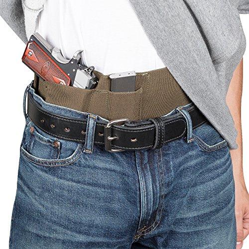 Hidden Agenda Belly Band Holster by Relentless Tactical - Concealed Carry Holster fits All Handguns - Made in USA | O.D. Green - XL (Best 9mm Handgun For Left Handers)