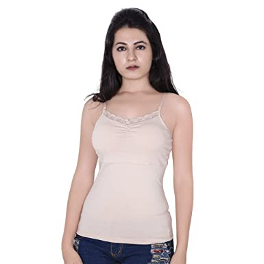 0b97e55865f Letizia Women s Cotton in-Built Padded Lace Camisole Spaghetti ...