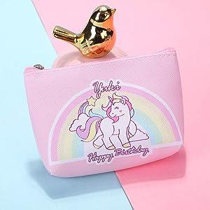 1X Girl Children Unicorn Pony Opal Card Zip Coin Wallet Purse Small Mini Pouch