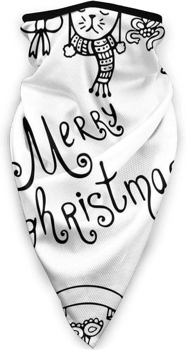 Set Of Cute Hand-drawn Christmas Elements Neck Gaiter Dust Sun Protection Face Cover Balaclava Sports Headwear Works As Scarf Headband Bandana Face Mask