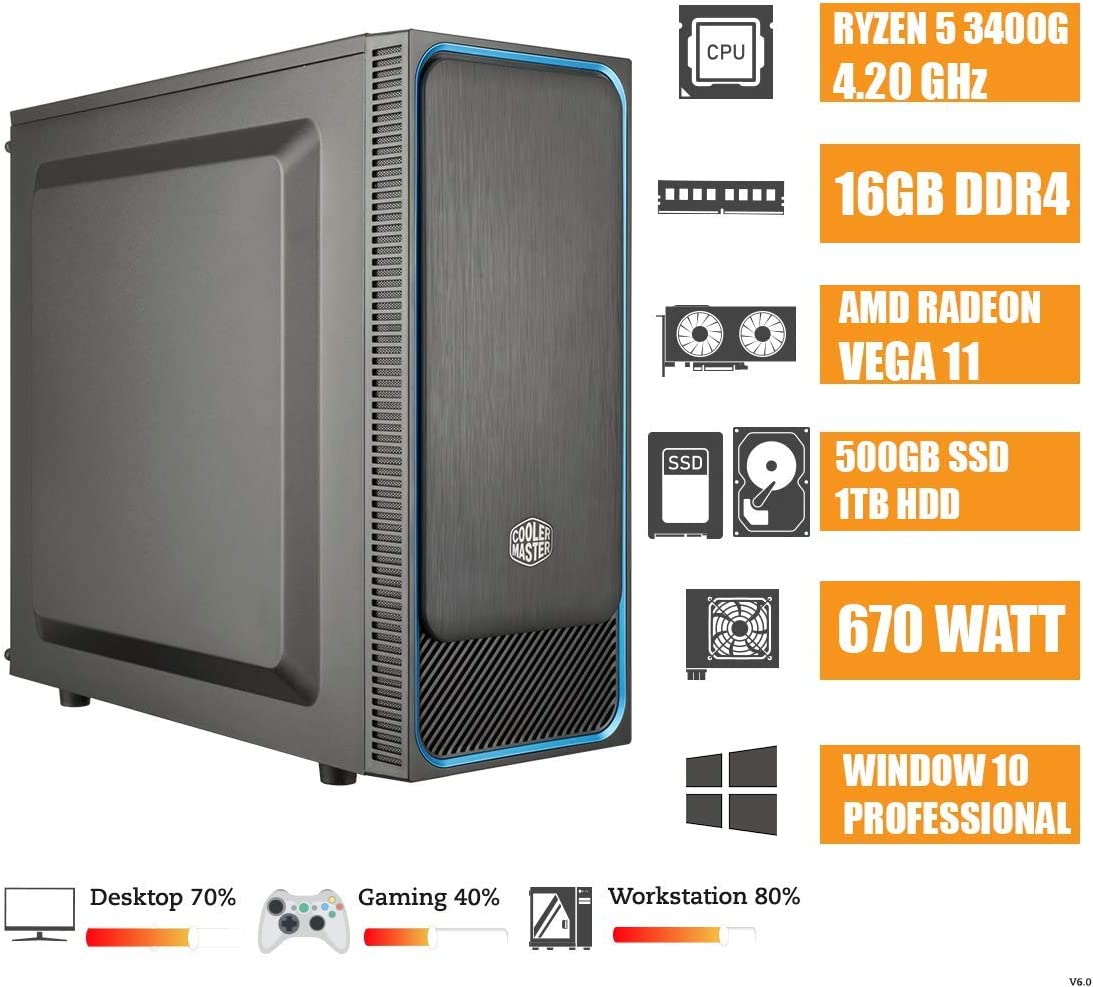CEO Epsilon V6 - Business Desktop - Ryzen 5 3400G Hexa Core 4.20 GHz 4MB | 16GB RAM DDR4 | 500GB SSD | 1TB Hard Disk | USB 3.0 | Radeon