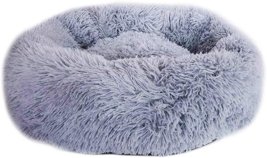 Watkings Cama de felpa para mascotas, cama de felpa para gatos y gatos, cama para cachorros, cama redonda u ovalada, cama para gatos y perros pequeños, gris claro, 40 cm
