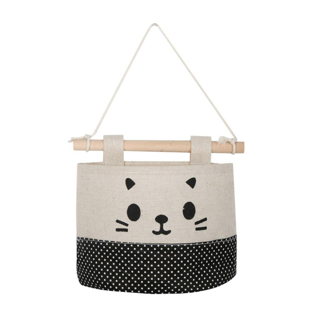 Clearance Storage bins,AIEason New Cotton Cartoon Cat Hanging Storage Bag Debris Pouch Wall Combination (A)