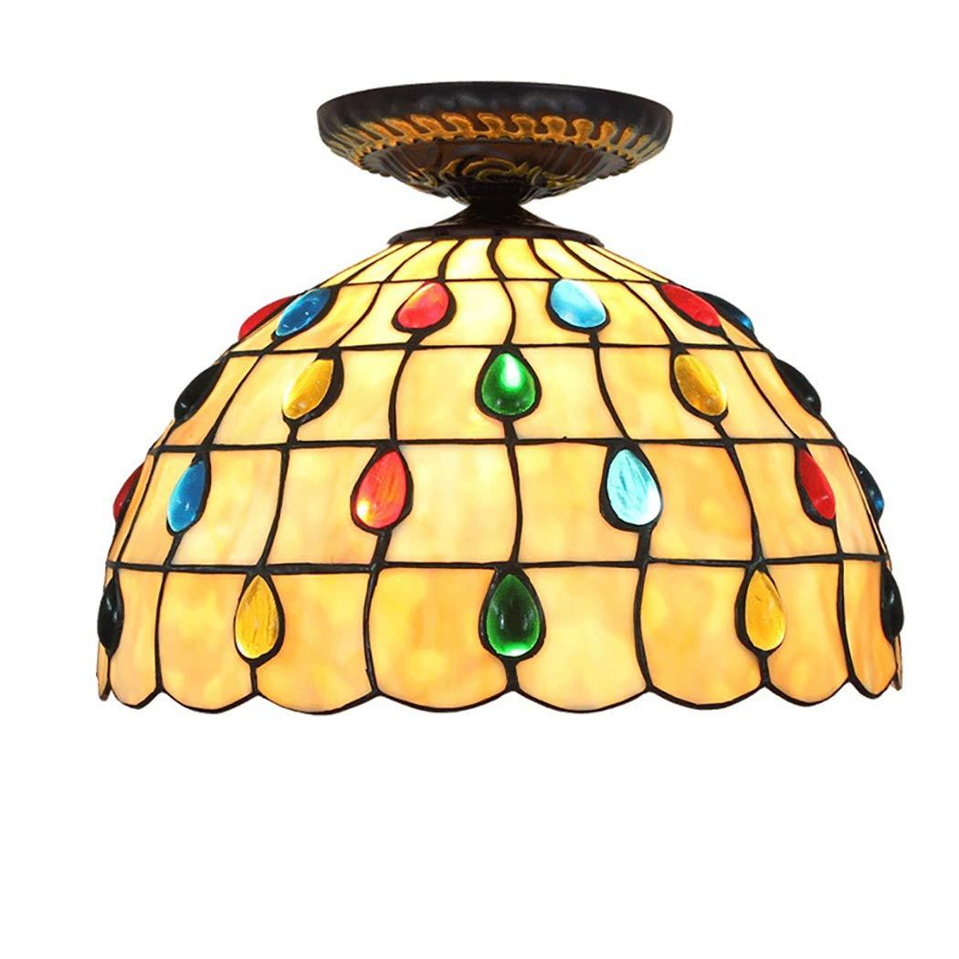 ティファニースタイル天井ランプØ30センチ寝室の装飾照明色のクリスタルビーズが付いている黄色いランプシェード廊下バルコニー通路ライト、110-220V、E27   B07TS7N7XX