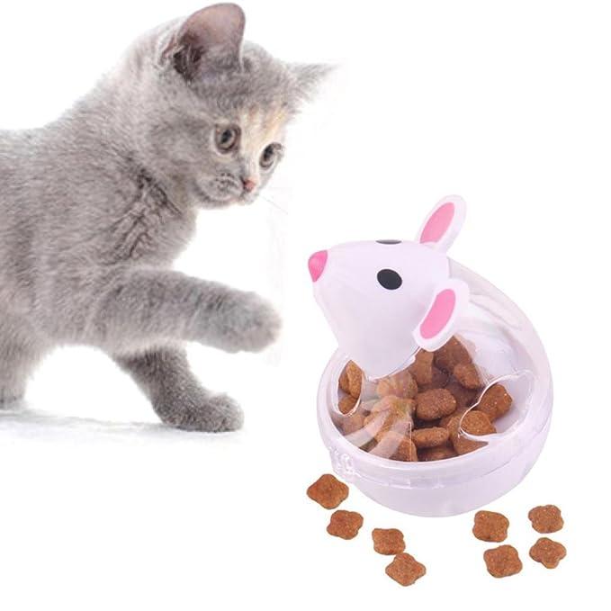 Amazon.com : Aolvo Pet IQ Treat Ball, Interactive Food Slow Dispensing Feeder Cat Food Tumbler Ball Cat Snack Dispenser Funny Mouse Design : Pet Supplies